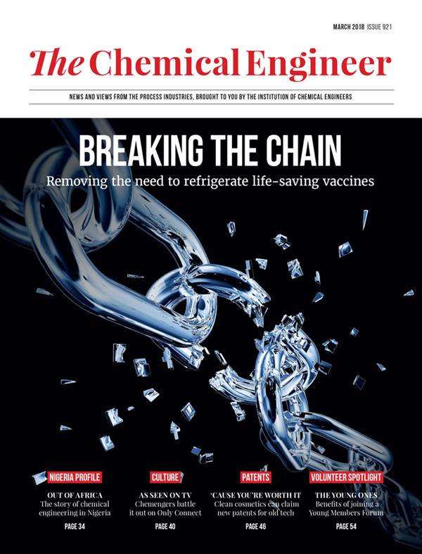 Cover of 'The Chemical Engineer' March 2018,       featuring the article 'Vaccine: The End of The Cold War' regarding the       groups work on the ensilication project.
